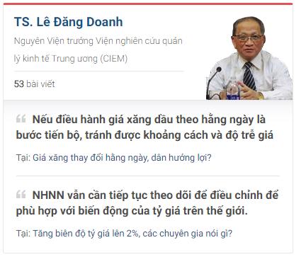 Chuyên gia Lê Đăng Doanh có nhiều bài viết sắc nét trên CafeF